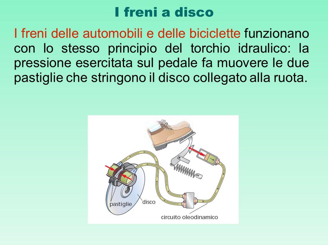 I freni a disco I freni delle automobili e delle biciclette funzionano con lo stesso principio del torchio idraulico: la pressione esercitata sul peda