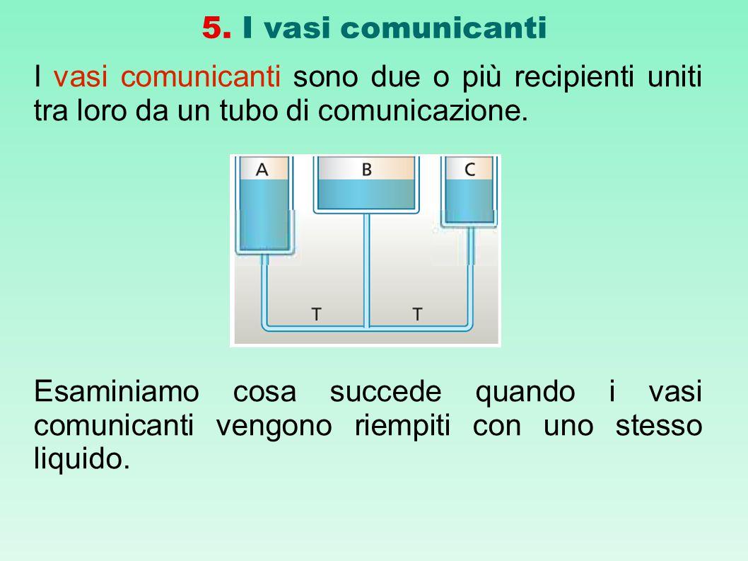 5. I vasi comunicanti I vasi comunicanti sono due o più recipienti uniti tra loro da un tubo di comunicazione. Esaminiamo cosa succede quando i vasi c