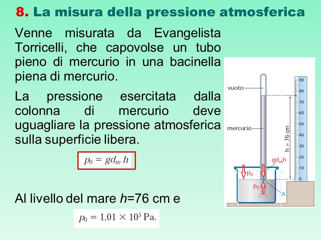 8. La misura della pressione atmosferica Venne misurata da Evangelista Torricelli, che capovolse un tubo pieno di mercurio in una bacinella piena di m