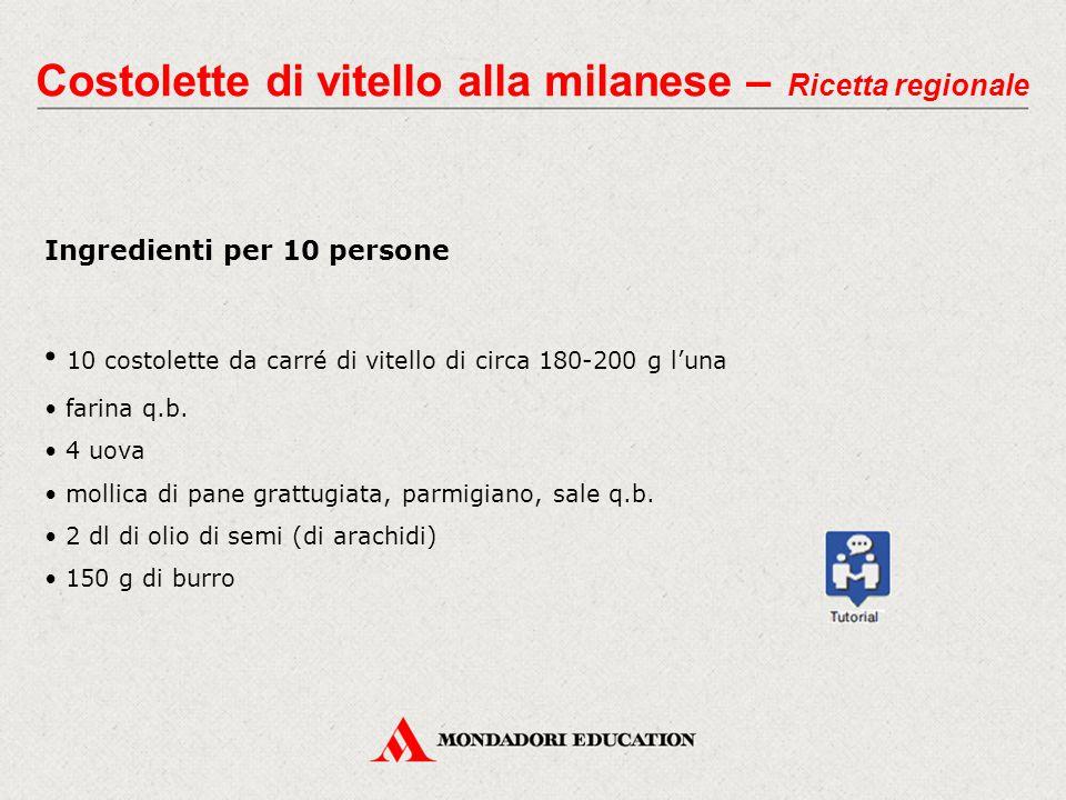 Costolette di vitello alla milanese – Ricetta regionale Ingredienti per 10 persone 10 costolette da carré di vitello di circa 180-200 g l'una farina q