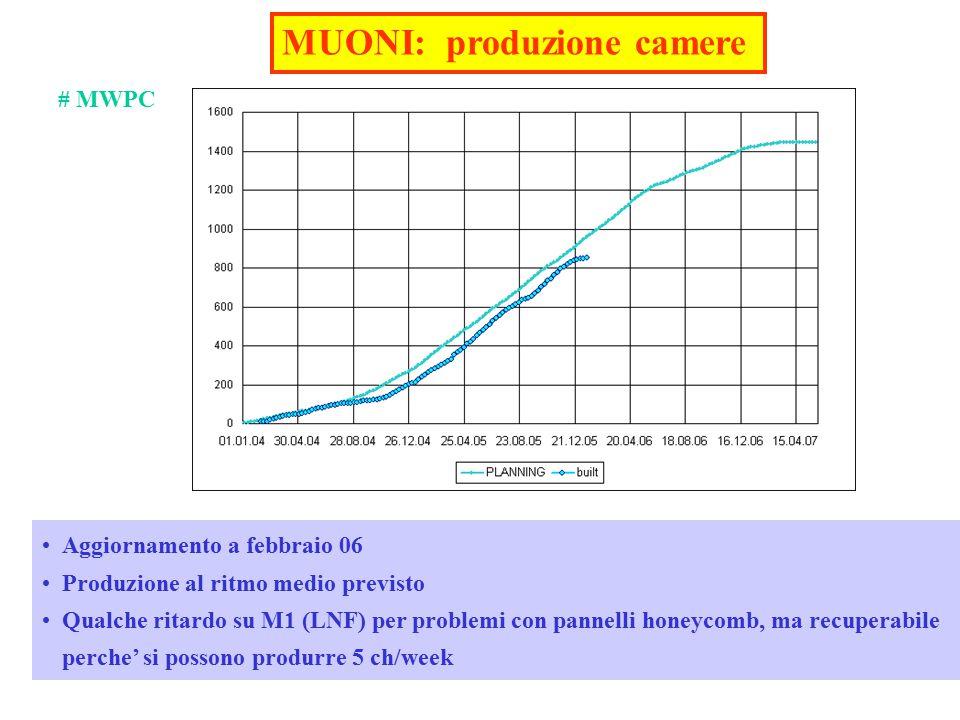- Referees LHCB-CSN1 02/062 MUONI: produzione camere Aggiornamento a febbraio 06 Produzione al ritmo medio previsto Qualche ritardo su M1 (LNF) per problemi con pannelli honeycomb, ma recuperabile perche' si possono produrre 5 ch/week # MWPC