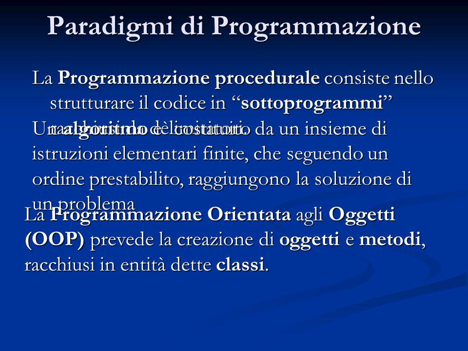 Paradigmi di Programmazione La Programmazione procedurale consiste nello strutturare il codice in sottoprogrammi racchiusi da delimitatori.