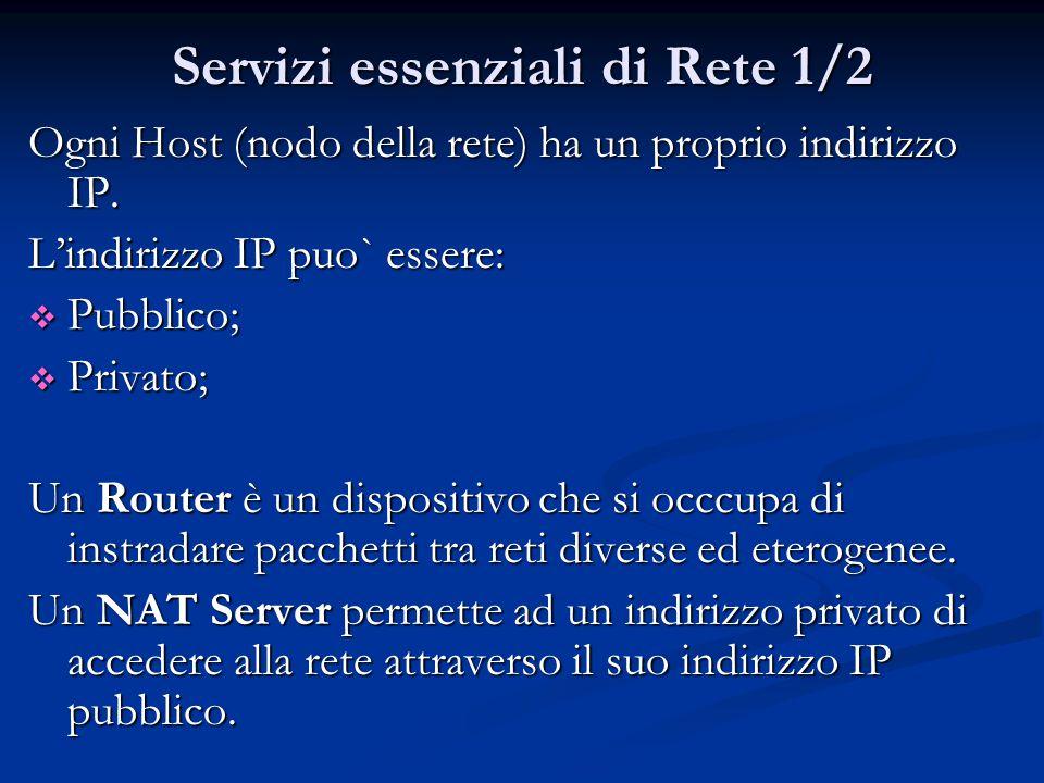 Servizi essenziali di Rete 1/2 Ogni Host (nodo della rete) ha un proprio indirizzo IP.