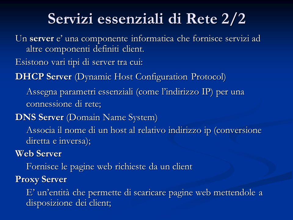 Servizi essenziali di Rete 2/2 Un server e' una componente informatica che fornisce servizi ad altre componenti definiti client.