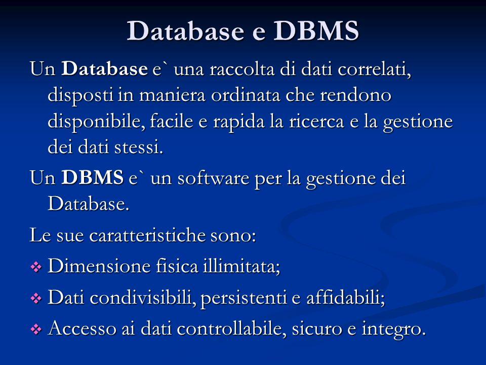 Database e DBMS Un Database e` una raccolta di dati correlati, disposti in maniera ordinata che rendono disponibile, facile e rapida la ricerca e la gestione dei dati stessi.