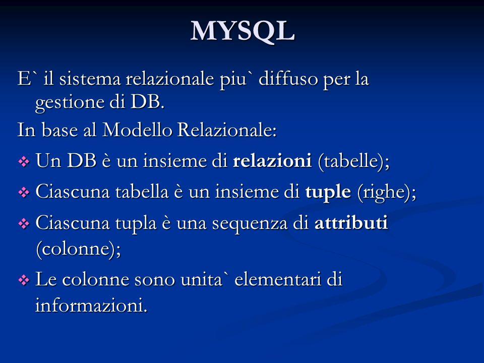 MYSQL E` il sistema relazionale piu` diffuso per la gestione di DB.