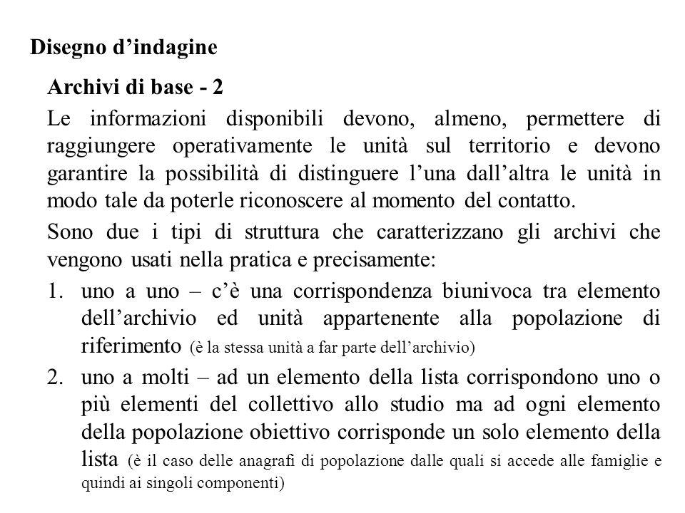 Disegno d'indagine Archivi di base - 3 Raccomandazioni In fase di progettazione occorre valutare possibili alternative sulla base di quanto in archivio risulta aggiornato e rappresentativo della popolazione obiettivo.