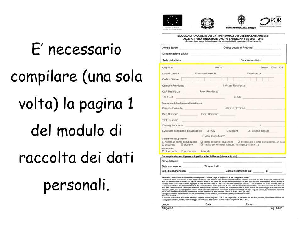 E' necessario compilare (una sola volta) la pagina 1 del modulo di raccolta dei dati personali.