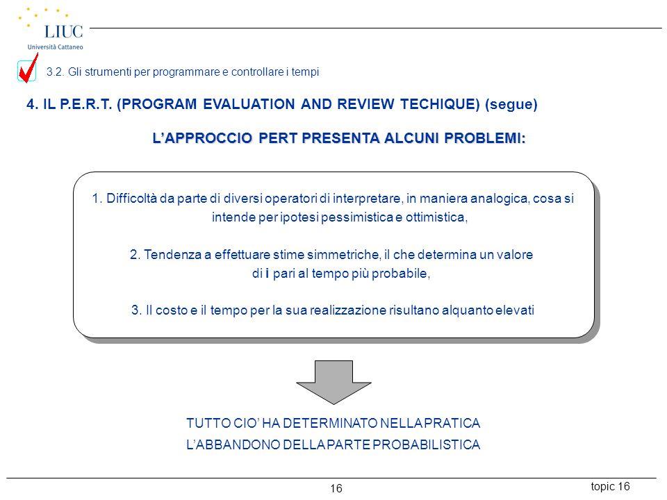 topic 16 16 4. IL P.E.R.T. (PROGRAM EVALUATION AND REVIEW TECHIQUE) (segue) L'APPROCCIO PERT PRESENTA ALCUNI PROBLEMI: 1. Difficoltà da parte di diver