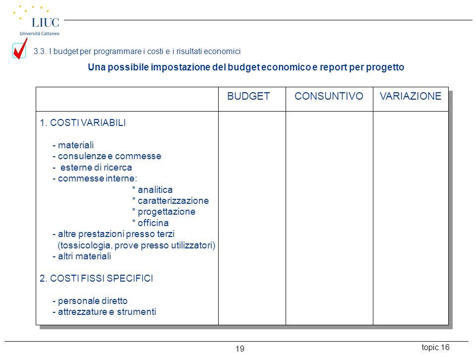 topic 16 19 Una possibile impostazione del budget economico e report per progetto 1. COSTI VARIABILI - materiali - consulenze e commesse - esterne di