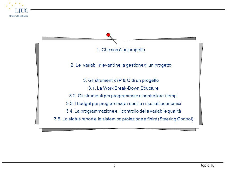 topic 16 2 1. Che cos'è un progetto 2. Le variabili rilevanti nella gestione di un progetto 3. Gli strumenti di P & C di un progetto 3.1. La Work Brea