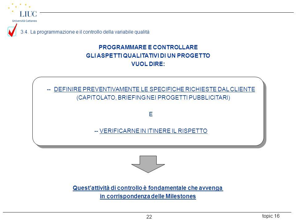 topic 16 22 PROGRAMMARE E CONTROLLARE GLI ASPETTI QUALITATIVI DI UN PROGETTO VUOL DIRE: -- DEFINIRE PREVENTIVAMENTE LE SPECIFICHE RICHIESTE DAL CLIENTE (CAPITOLATO, BRIEFING NEI PROGETTI PUBBLICITARI) E -- VERIFICARNE IN ITINERE IL RISPETTO Quest'attività di controllo è fondamentale che avvenga in corrispondenza delle Milestones 3.4.