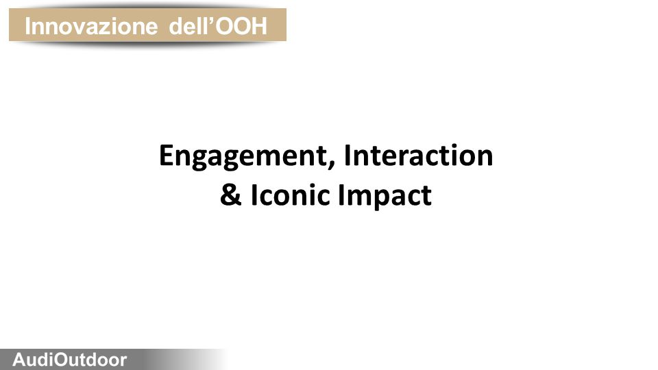 Innovazione dell'OOH Engagement, Interaction & Iconic Impact