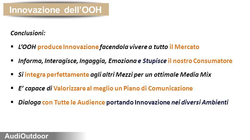 Innovazione dell'OOH Conclusioni:  L'OOH produce Innovazione facendola vivere a tutto il Mercato  Informa, Interagisce, Ingaggia, Emoziona e Stupisce il nostro Consumatore  Si integra perfettamente agli altri Mezzi per un ottimale Media Mix  E' capace di Valorizzare al meglio un Piano di Comunicazione  Dialoga con Tutte le Audience portando Innovazione nei diversi Ambienti