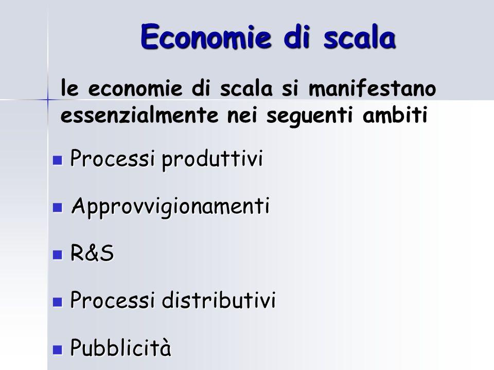 Economie di scala Processi produttivi Processi produttivi Approvvigionamenti Approvvigionamenti R&S R&S Processi distributivi Processi distributivi Pubblicità Pubblicità le economie di scala si manifestano essenzialmente nei seguenti ambiti