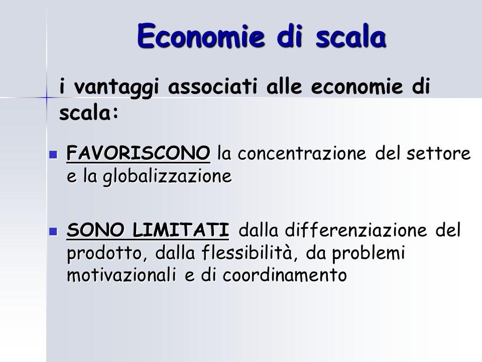 Economie di scala FAVORISCONO la concentrazione del settore e la globalizzazione FAVORISCONO la concentrazione del settore e la globalizzazione SONO LIMITATI dalla differenziazione del prodotto, dalla flessibilità, da problemi motivazionali e di coordinamento SONO LIMITATI dalla differenziazione del prodotto, dalla flessibilità, da problemi motivazionali e di coordinamento i vantaggi associati alle economie di scala: