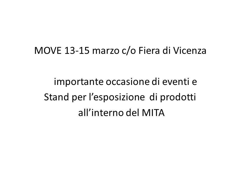 MOVE 13-15 marzo c/o Fiera di Vicenza importante occasione di eventi e Stand per l'esposizione di prodotti all'interno del MITA