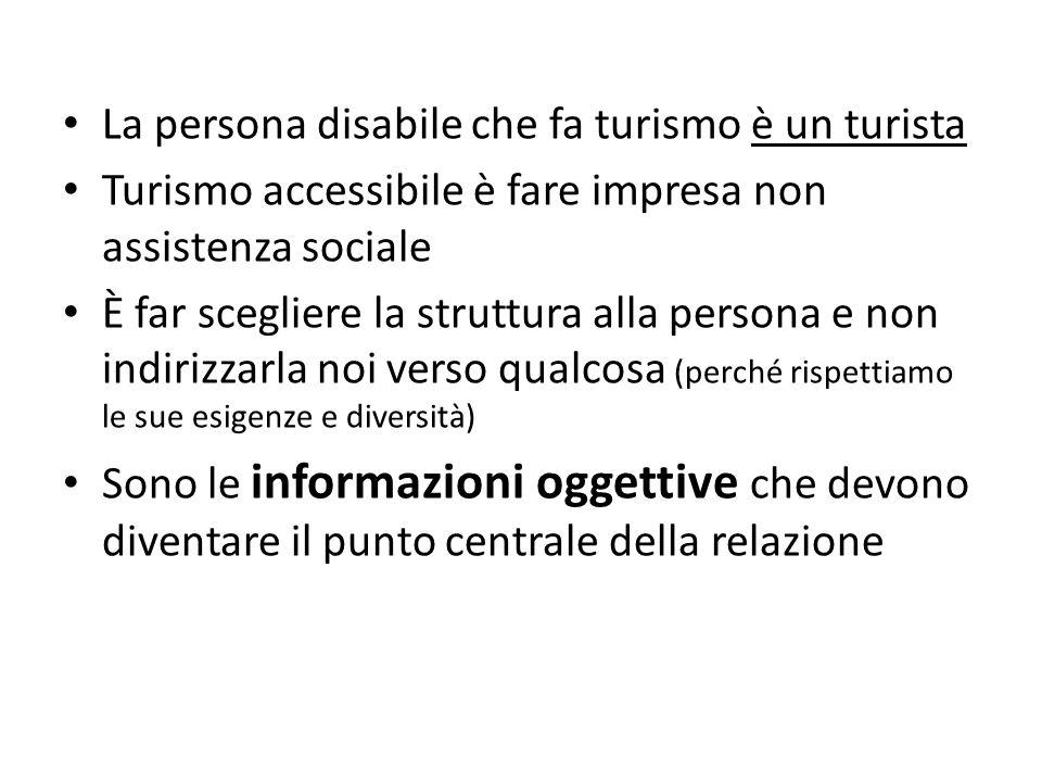 La persona disabile che fa turismo è un turista Turismo accessibile è fare impresa non assistenza sociale È far scegliere la struttura alla persona e
