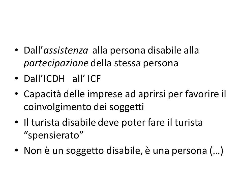 Dall'assistenza alla persona disabile alla partecipazione della stessa persona Dall'ICDH all' ICF Capacità delle imprese ad aprirsi per favorire il co