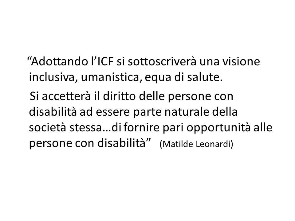 """""""Adottando l'ICF si sottoscriverà una visione inclusiva, umanistica, equa di salute. Si accetterà il diritto delle persone con disabilità ad essere pa"""