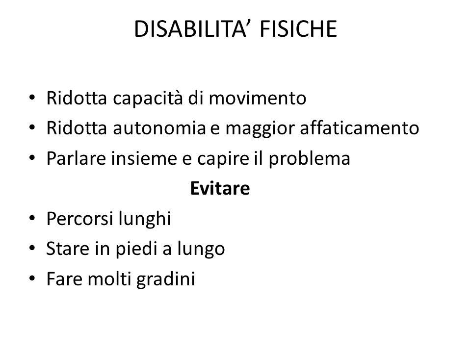 DISABILITA' FISICHE Ridotta capacità di movimento Ridotta autonomia e maggior affaticamento Parlare insieme e capire il problema Evitare Percorsi lung