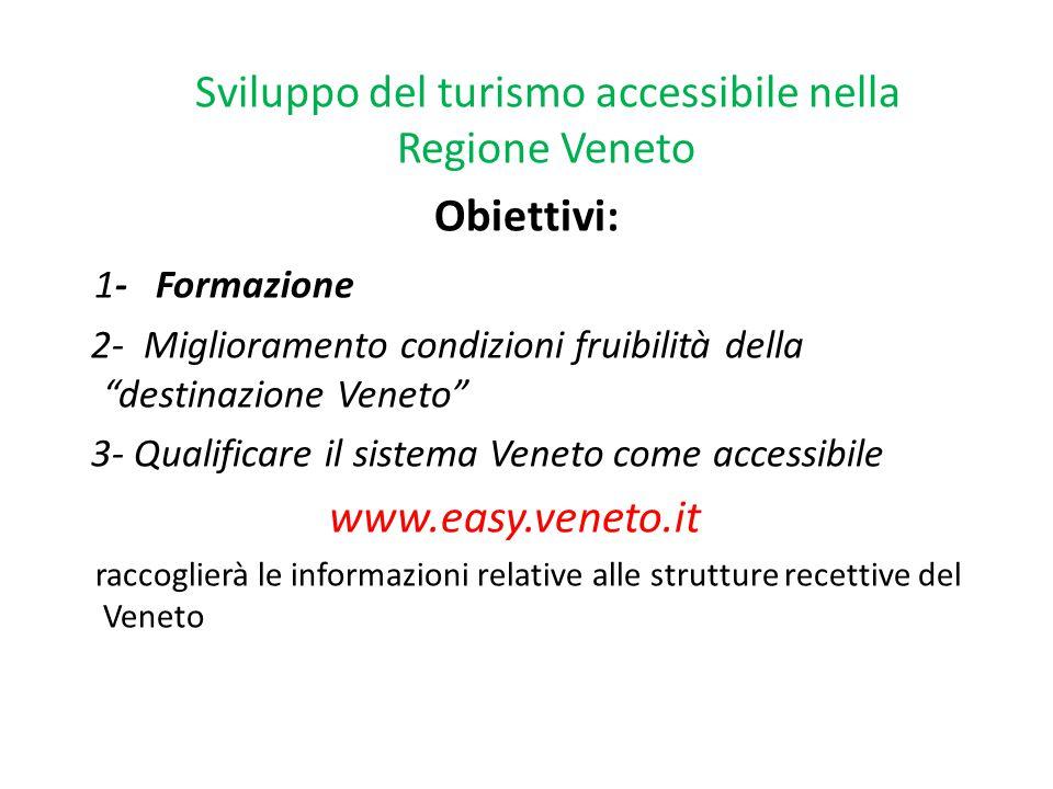 """Sviluppo del turismo accessibile nella Regione Veneto Obiettivi: 1- Formazione 2- Miglioramento condizioni fruibilità della """"destinazione Veneto"""" 3- Q"""