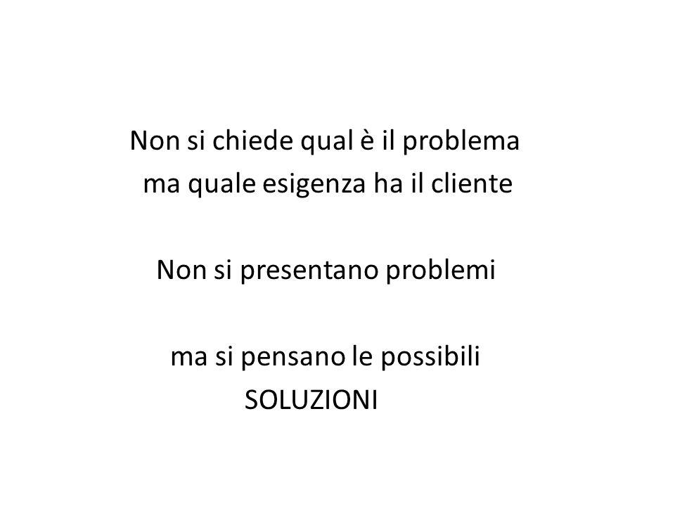 Non si chiede qual è il problema ma quale esigenza ha il cliente Non si presentano problemi ma si pensano le possibili SOLUZIONI