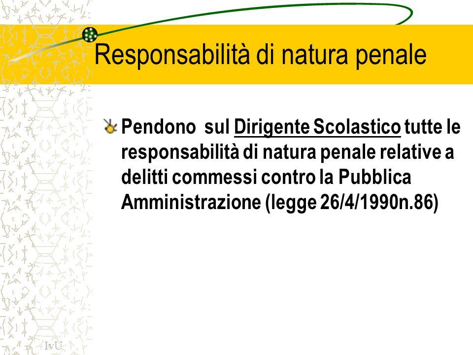 Responsabilità di natura penale Pendono sul Dirigente Scolastico tutte le responsabilità di natura penale relative a delitti commessi contro la Pubbli