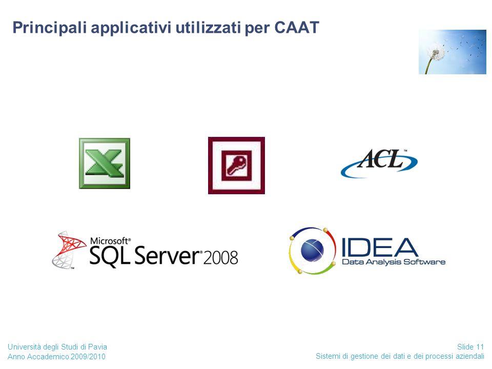Anno Accademico 2009/2010 Sistemi di gestione dei dati e dei processi aziendali Slide 11 Università degli Studi di Pavia Principali applicativi utilizzati per CAAT