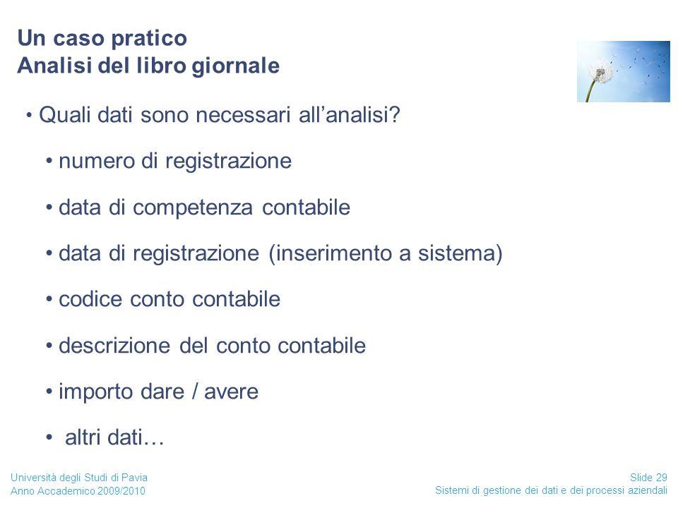 Anno Accademico 2009/2010 Sistemi di gestione dei dati e dei processi aziendali Slide 29 Università degli Studi di Pavia Un caso pratico Analisi del libro giornale Quali dati sono necessari all'analisi.