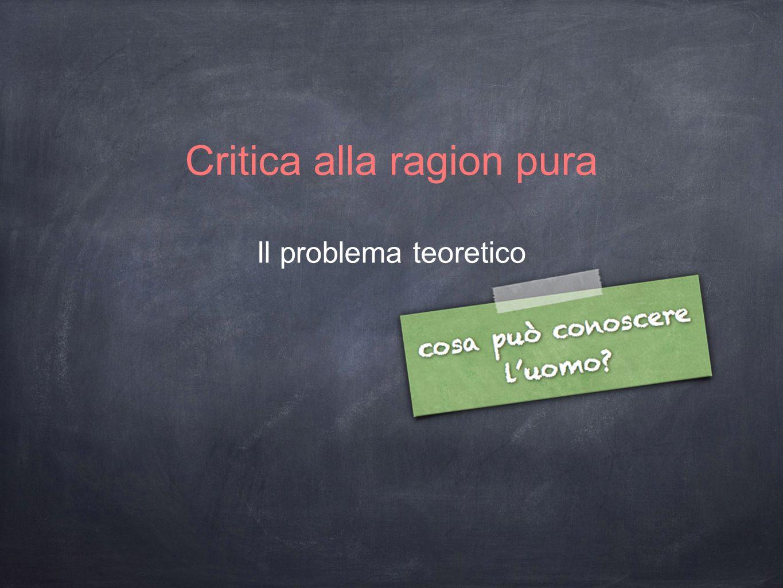 Critica alla ragion pura Il problema teoretico