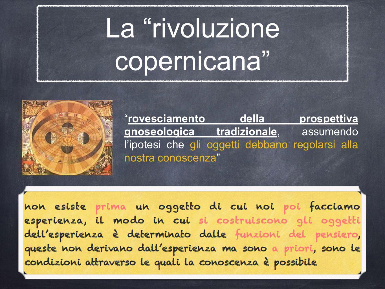 La rivoluzione copernicana rovesciamento della prospettiva gnoseologica tradizionale, assumendo l'ipotesi che gli oggetti debbano regolarsi alla nostra conoscenza