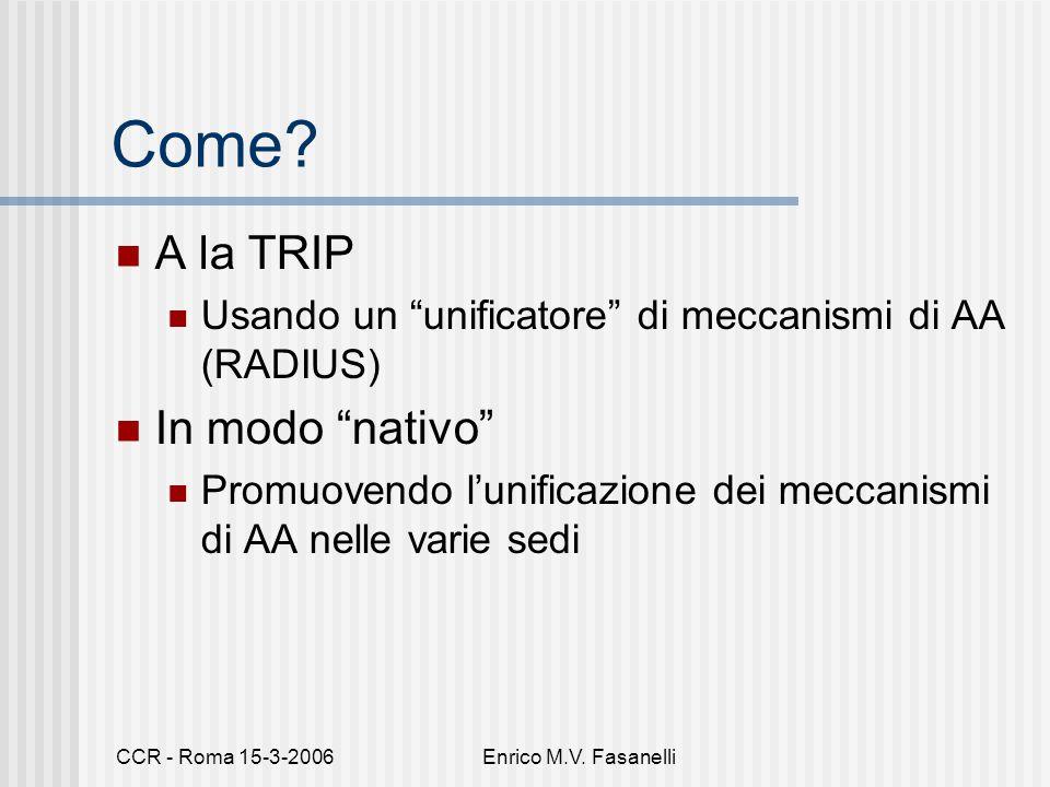 """CCR - Roma 15-3-2006Enrico M.V. Fasanelli Come? A la TRIP Usando un """"unificatore"""" di meccanismi di AA (RADIUS) In modo """"nativo"""" Promuovendo l'unificaz"""
