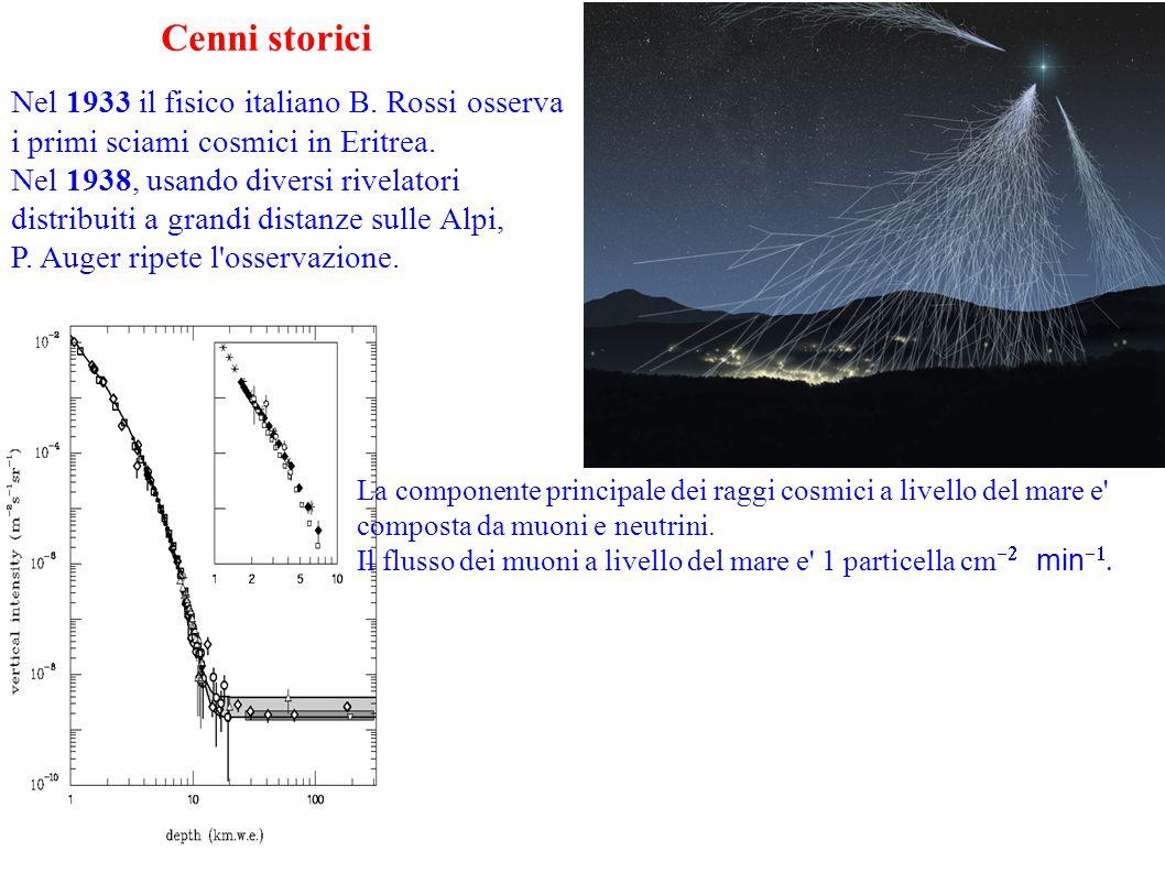 Cenni storici Nel 1933 il fisico italiano B. Rossi osserva i primi sciami cosmici in Eritrea.