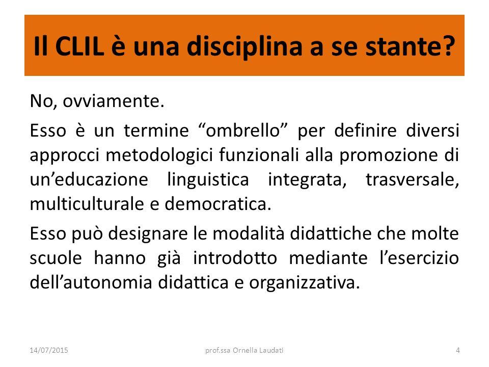 """Il CLIL è una disciplina a se stante? No, ovviamente. Esso è un termine """"ombrello"""" per definire diversi approcci metodologici funzionali alla promozio"""