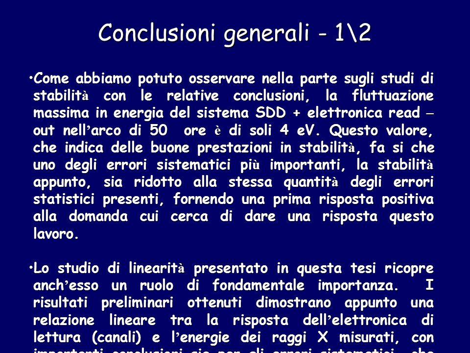 Conclusioni generali - 1\2 Come abbiamo potuto osservare nella parte sugli studi di stabilit à con le relative conclusioni, la fluttuazione massima in