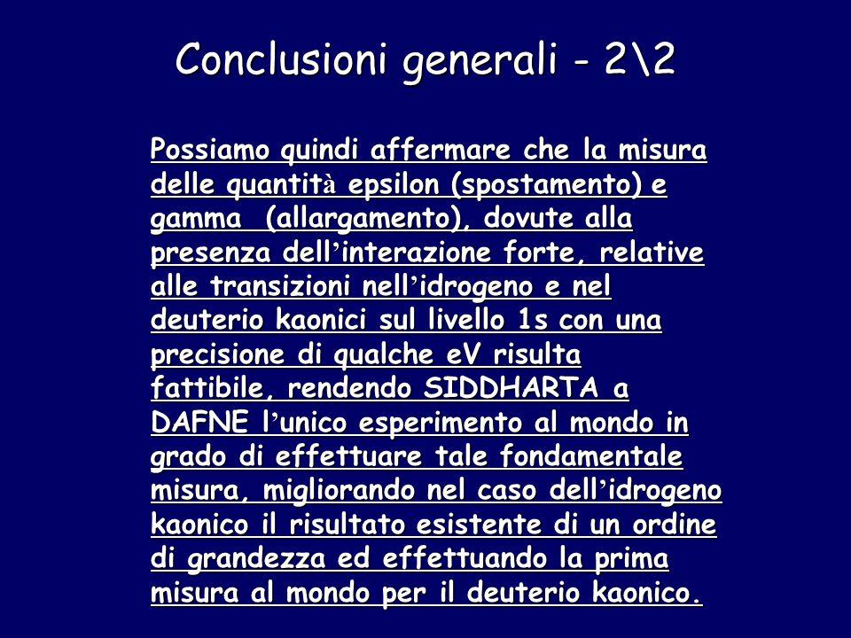 Possiamo quindi affermare che la misura delle quantit à epsilon (spostamento) e gamma (allargamento), dovute alla presenza dell ' interazione forte, r