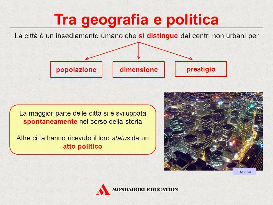 Tra geografia e politica La città è un insediamento umano che si distingue dai centri non urbani per dimensione La maggior parte delle città si è svil