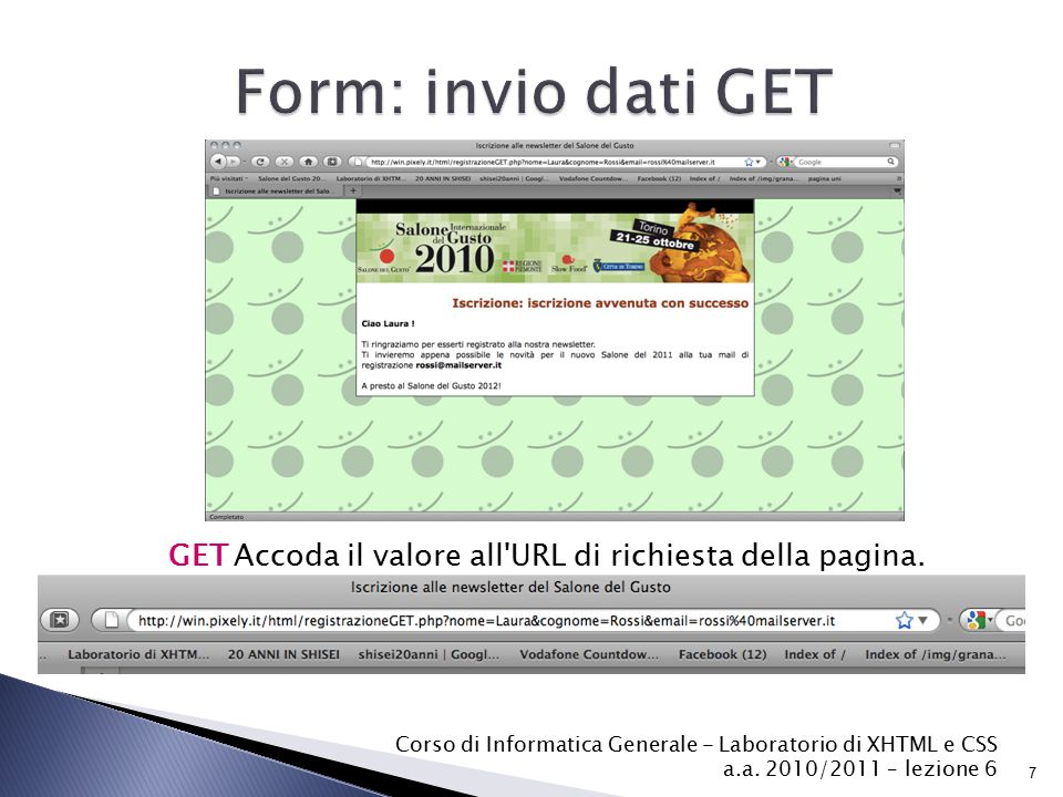 GET Accoda il valore all URL di richiesta della pagina.