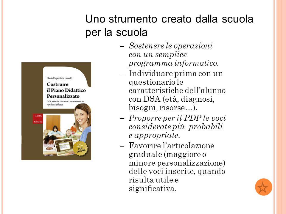 Uno strumento creato dalla scuola per la scuola – Sostenere le operazioni con un semplice programma informatico. – Individuare prima con un questionar
