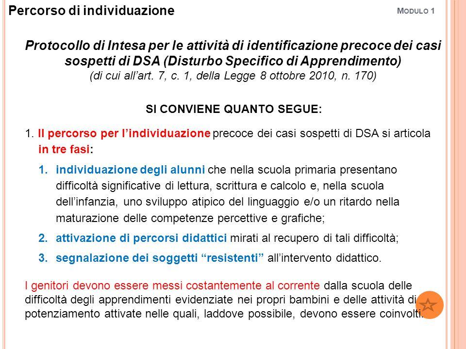 M ODULO 1 Protocollo di Intesa per le attività di identificazione precoce dei casi sospetti di DSA (Disturbo Specifico di Apprendimento) (di cui all'art.