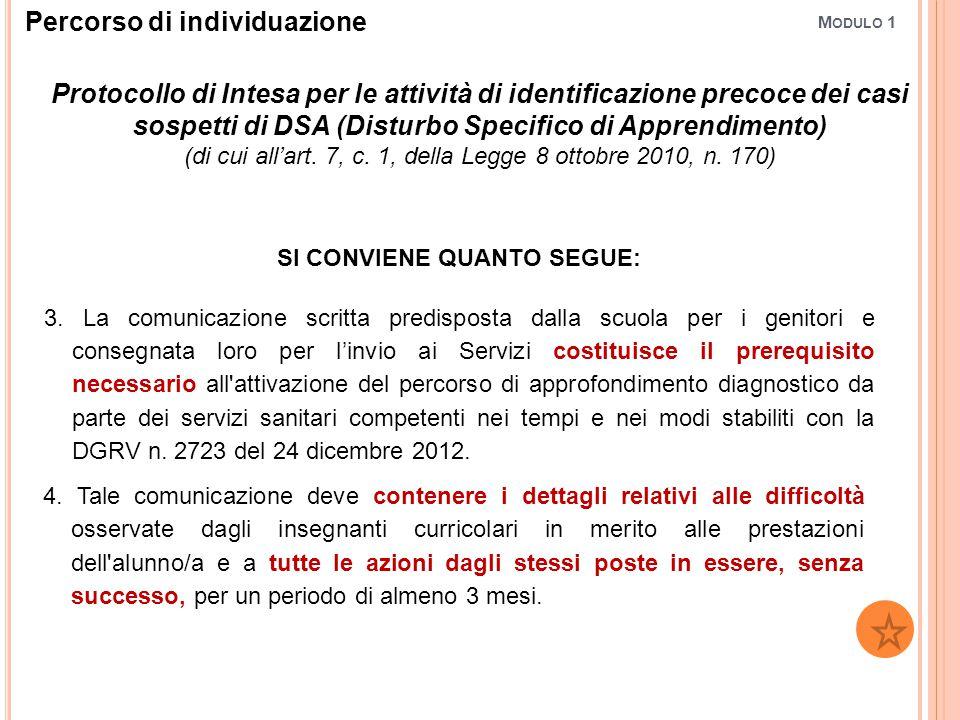 M ODULO 1 Protocollo di Intesa per le attività di identificazione precoce dei casi sospetti di DSA (Disturbo Specifico di Apprendimento) (di cui all'a