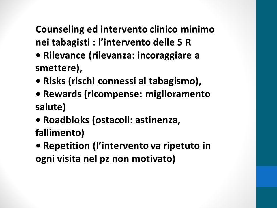 Counseling ed intervento clinico minimo nei tabagisti : l'intervento delle 5 R Rilevance (rilevanza: incoraggiare a smettere), Risks (rischi connessi