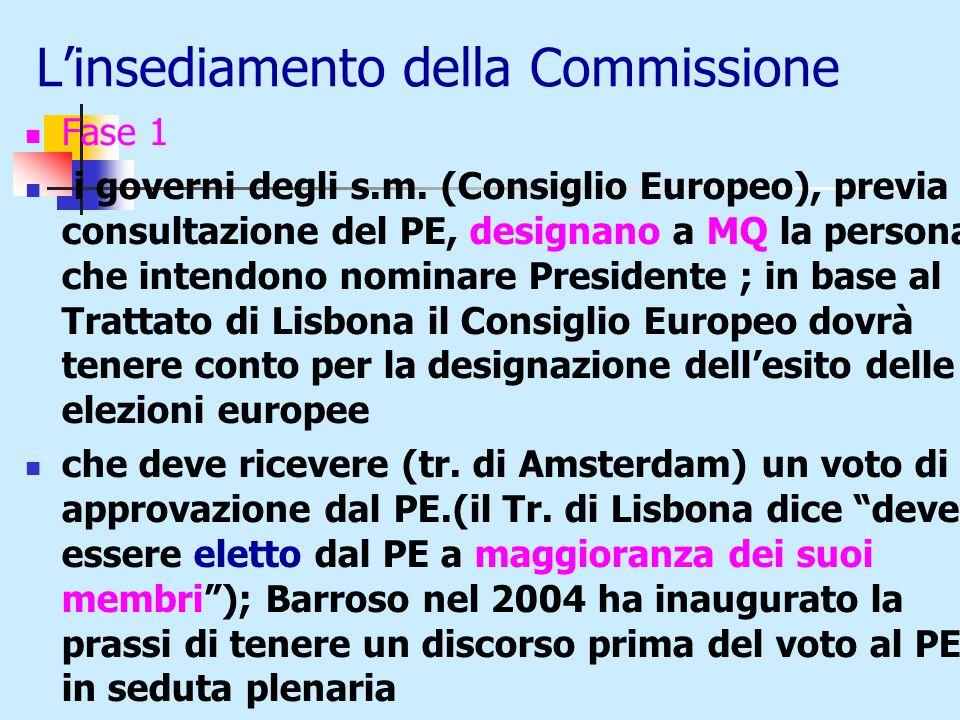 L'insediamento della Commissione Fase 1 i governi degli s.m.