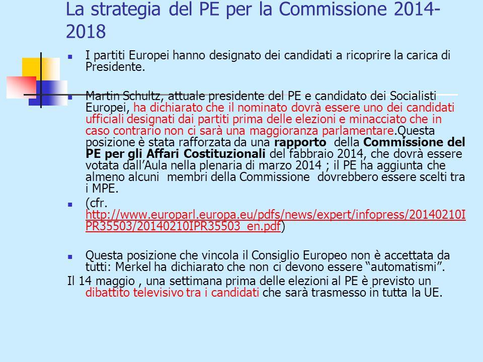 La strategia del PE per la Commissione 2014- 2018 I partiti Europei hanno designato dei candidati a ricoprire la carica di Presidente.