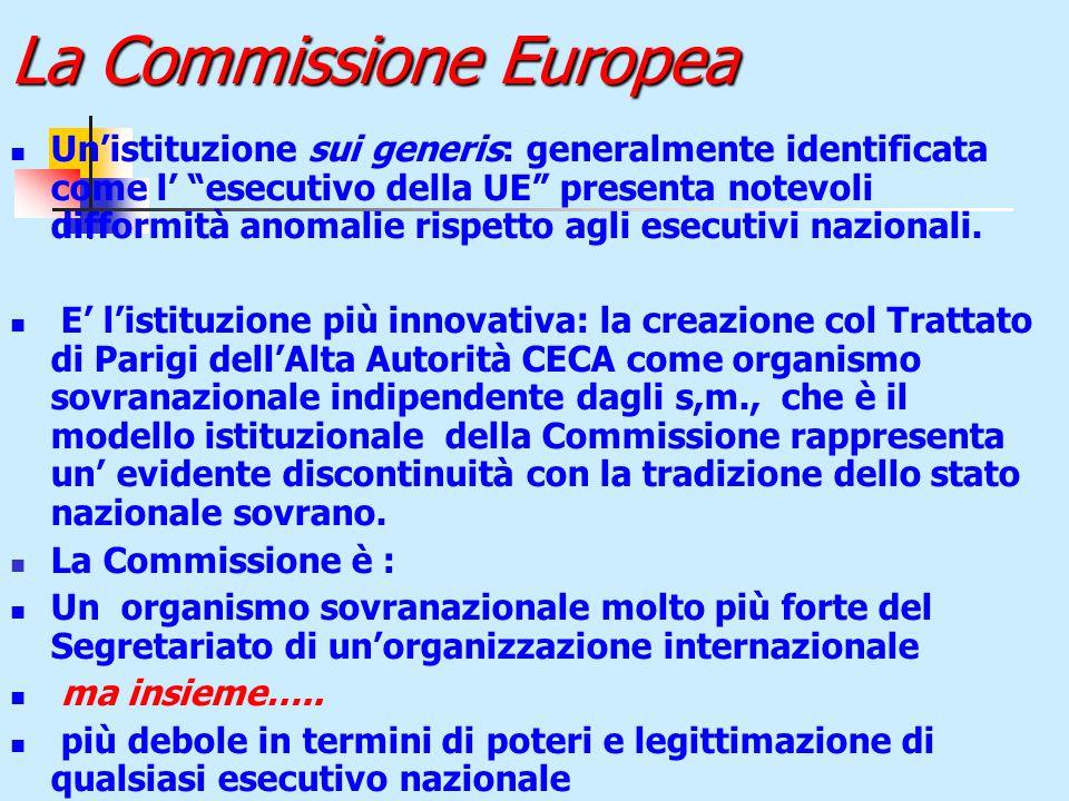 La Commissione Europea Un'istituzione sui generis: generalmente identificata come l' esecutivo della UE presenta notevoli difformità anomalie rispetto agli esecutivi nazionali.