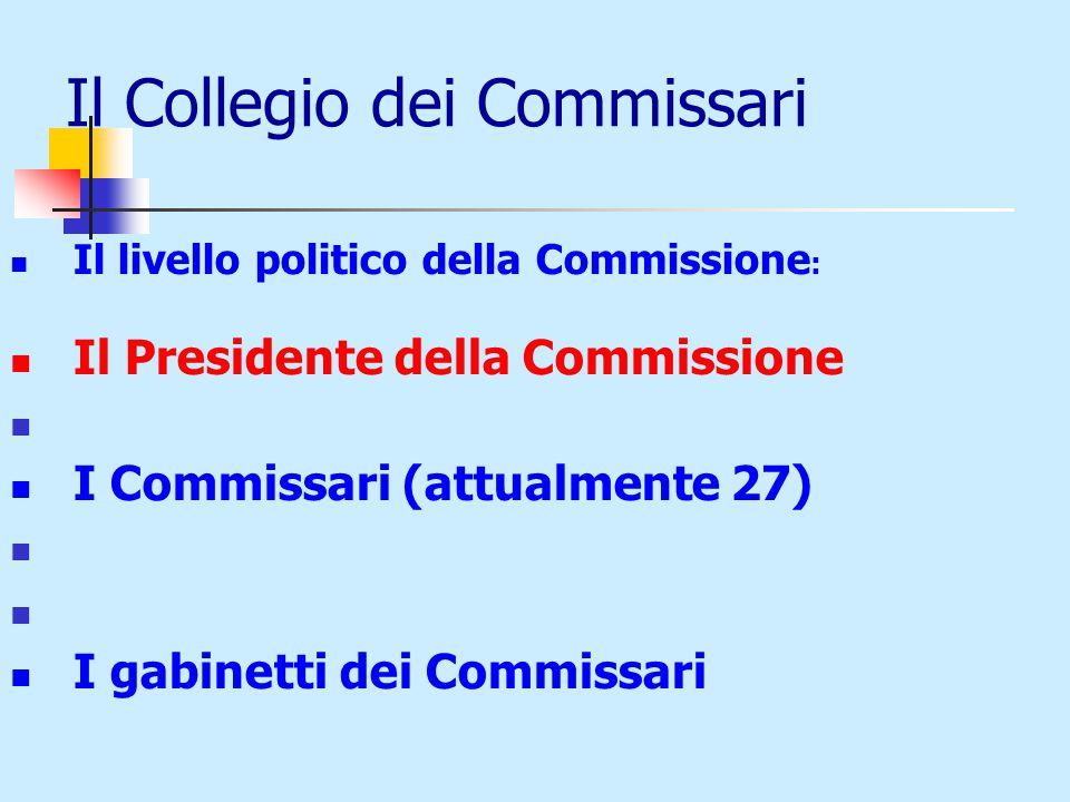 Il Collegio dei Commissari Il livello politico della Commissione : Il Presidente della Commissione I Commissari (attualmente 27) I gabinetti dei Commissari
