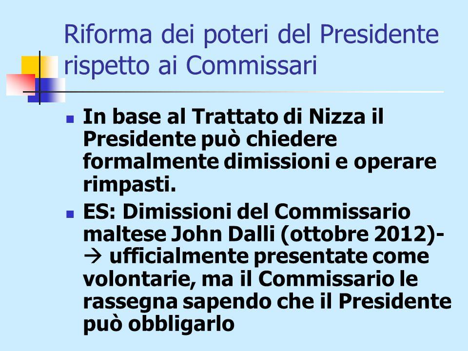 Riforma dei poteri del Presidente rispetto ai Commissari In base al Trattato di Nizza il Presidente può chiedere formalmente dimissioni e operare rimpasti.
