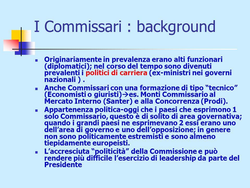 I Commissari : background Originariamente in prevalenza erano alti funzionari (diplomatici); nel corso del tempo sono divenuti prevalenti i politici di carriera (ex-ministri nei governi nazionali ).