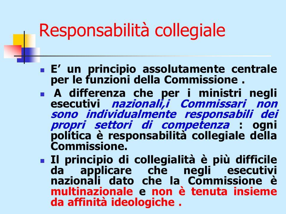 Responsabilità collegiale E' un principio assolutamente centrale per le funzioni della Commissione.